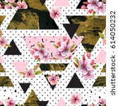 abstract spring geometric... | Shutterstock . vector #614050232