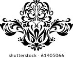 Damask Ornament. Black And...