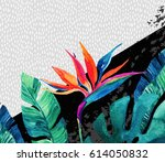 abstract tropical summer design ... | Shutterstock . vector #614050832