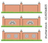 set of manor or garden fences....   Shutterstock .eps vector #614056805