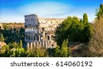 colosseum in rome and evening... | Shutterstock . vector #614060192