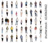 diversity people set gesture... | Shutterstock . vector #614063462