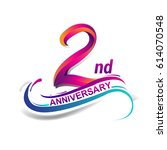 2nd anniversary celebration... | Shutterstock .eps vector #614070548