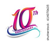 10th anniversary celebration... | Shutterstock .eps vector #614070635