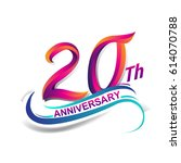 20th anniversary celebration... | Shutterstock .eps vector #614070788