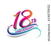 18th anniversary celebration... | Shutterstock .eps vector #614070932