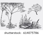 nature design elements  trees ... | Shutterstock .eps vector #614075786