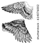 wings vector drawing | Shutterstock .eps vector #614076002