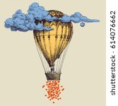 hot air balloon up in the sky... | Shutterstock .eps vector #614076662
