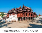 old teak wood shwe yan pyay... | Shutterstock . vector #614077922