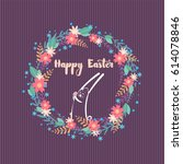 cute easter card with a rabbit... | Shutterstock .eps vector #614078846