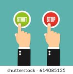 hand pressing the red button.... | Shutterstock .eps vector #614085125