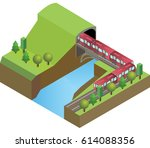 railroad tunnel with train ... | Shutterstock .eps vector #614088356