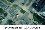 aerial shot of urban road...   Shutterstock . vector #614089295