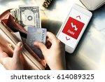 money bill banking cash cards... | Shutterstock . vector #614089325