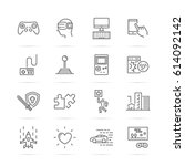 video game vector line icons ... | Shutterstock .eps vector #614092142
