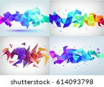 vector set of faceted 3d... | Shutterstock .eps vector #614093798