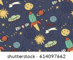 seamless space pattern. cosmos... | Shutterstock .eps vector #614097662