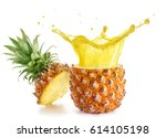 yellow juice exploding out of a ... | Shutterstock . vector #614105198