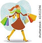 shopping girl | Shutterstock .eps vector #61411246
