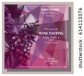 wine tasting invitation card | Shutterstock .eps vector #614113376