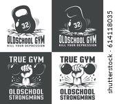 gym old school logos on white... | Shutterstock .eps vector #614118035