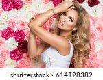 beauty happy model girl with... | Shutterstock . vector #614128382