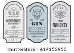set of vintage bottle label... | Shutterstock .eps vector #614152952