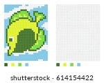 pixel zebrasoma fish cartoon in ... | Shutterstock .eps vector #614154422