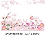 illustration with cherry tree...