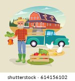 icon set of farm element.... | Shutterstock .eps vector #614156102