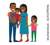 two parents with little... | Shutterstock .eps vector #614159546