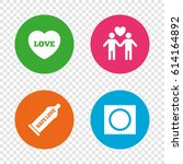 condom safe sex icons. lovers...   Shutterstock .eps vector #614164892
