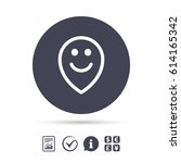 happy face map pointer symbol.... | Shutterstock .eps vector #614165342