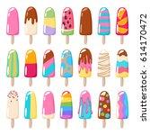popsicle ice cream icons set....   Shutterstock .eps vector #614170472