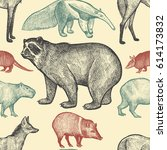 seamless pattern with animals... | Shutterstock .eps vector #614173832