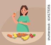 pregnant woman character vector ... | Shutterstock .eps vector #614175356