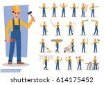construction worker character... | Shutterstock .eps vector #614175452