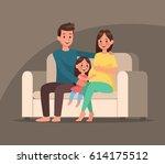 pregnant woman character vector ... | Shutterstock .eps vector #614175512