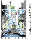 photo print new york and statue ... | Shutterstock . vector #614178416
