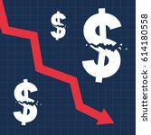 crashed dollar sign and falling ... | Shutterstock .eps vector #614180558