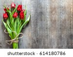 bunch of tulips  spring flowers ... | Shutterstock . vector #614180786