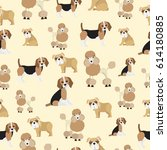 dog pattern on yellow... | Shutterstock .eps vector #614180885