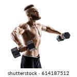 bodybuilder exercising with... | Shutterstock . vector #614187512