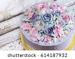birthday cake with flowers rose ... | Shutterstock . vector #614187932