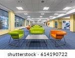 modern office interior with... | Shutterstock . vector #614190722