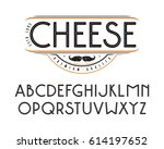 decorative sanserif font with... | Shutterstock .eps vector #614197652