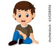 vector illustration of cute boy ... | Shutterstock .eps vector #614208506
