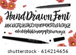 hand drawn font. handwritten... | Shutterstock .eps vector #614214656