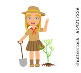 cute scout girl with a shovel... | Shutterstock .eps vector #614217326